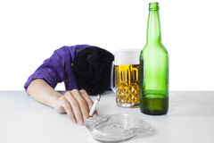 Alcohol and smoking addiction 1 Royalty Free Stock Photo