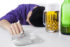 Alcohol and smoking addiction Royalty Free Stock Photo