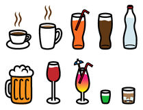 Alcohol, soft and hot drinks collection. Cartoon vector illustration of alcohol, soft drinks and hot drinks Stock Photography
