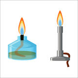 Alcohol spirit burner and Bunsen burner. Chemical equipment. Alcohol spirit burner and Bunsen burner with flames isolated on white background. Cartoon vector Royalty Free Stock Photos