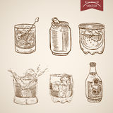Alcohol spirit mix cocktail glasses engraving vector vintage Stock Images