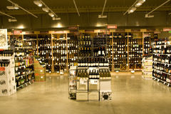 Alcohol store. A big alcohol store with huge selection of alcohols, wines or other drinks Royalty Free Stock Photos