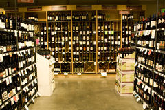 Alcohol store. A big alcohol store with huge collection of alcohols, wines or other drinks Royalty Free Stock Photos