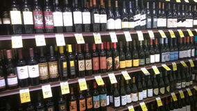 Alcohol on store shelves. Alcohol on Tom Thumb store shelves, USA Royalty Free Stock Photos