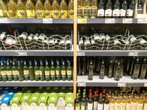 Alcohol store - wine racks Stock Photo