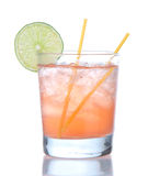 Alcohol strawberry margarita cocktail drink with lime. Isolated on a white background Stock Photos