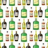 Alcohol strong drinks in bottles cartoon glasses seamless pattern background whiskey cognac brandy wine vector Stock Images