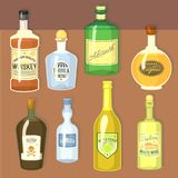 Alcohol strong drinks in bottles cartoon glasses whiskey cognac brandy wine vector illustration. Alcohol strong drinks in bottles and cocktail glasses whiskey royalty free illustration