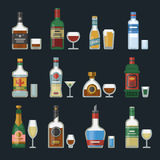 Alcohol strong drinks in bottles cocktail glasses whiskey cognac brandy beer champagne wine vector illustration Royalty Free Stock Photography
