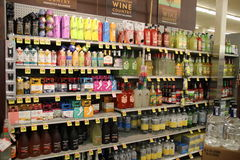 Alcohol in supermarket. Liquor department in a supermarket Stock Photography