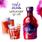 Alcohol and sweets. watercolor Stock Photos