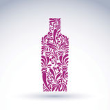 Alcohol theme graphic flower-patterned bottle Royalty Free Stock Photos