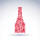 Alcohol theme graphic flower-patterned element. Classic bottle w Stock Photos