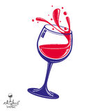 Alcohol theme vector art illustration. 3d realistic wine goblet Royalty Free Stock Images