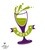 Alcohol theme vector art illustration. Festive goblet with decor. Ative wavy ribbon, party and celebration idea design object Stock Images