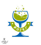 Alcohol theme vector art illustration. Festive goblet with decor. Ative wavy ribbon, party and celebration idea design object Royalty Free Stock Images