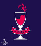 Alcohol theme vector art illustration. Festive goblet with decor Stock Image