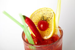 Alcohol tomato cocktail with cherry tomatoes and chili Stock Images