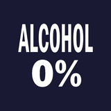 0% alcohol. Vector on dark blue background. 0% alcohol. Vector icon on dark blue background Royalty Free Stock Photos