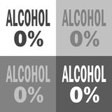 0% alcohol. Vector icon set alcohol on white-grey-black color. 0% alcohol illustration. Vector icon set alcohol on white-grey-black color Royalty Free Stock Photography