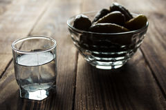 Alcohol vodka shot drink with pickles Royalty Free Stock Image