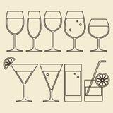 Alcohol, Wijn, Bier, Cocktail en Waterglazen stock illustratie