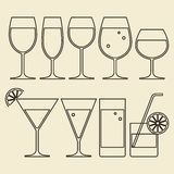 Alcohol, Wine, Beer, Cocktail and Water Glasses Stock Photo