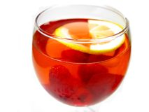 Alcohol wine cocktail punch with raspberry stock photo