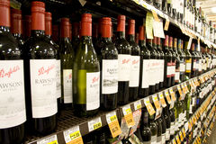 Alcohol wines for sale Royalty Free Stock Photography