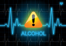 ALCOHOL - written on heart rate monitor Royalty Free Stock Photo