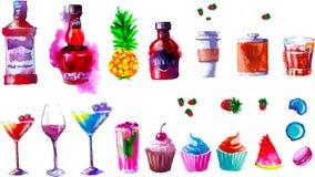 Alcohol y dulces del vector watercolor stock de ilustración
