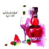 Alcohol y dulces watercolor Fotos de archivo