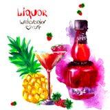 Alcohol y dulces watercolor Imagenes de archivo