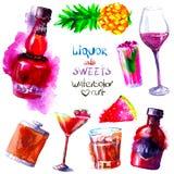 Alcohol y dulces watercolor Fotos de archivo libres de regalías