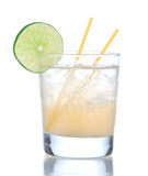 Alcohol yellow lemon margarita cocktail drink with lime. Isolated on a white background stock images