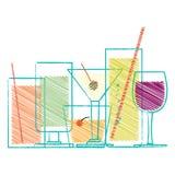 Alcoholdranken en cocktails in glazen Royalty-vrije Stock Afbeeldingen
