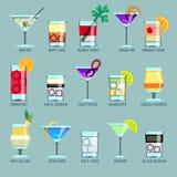 Alcoholdranken en cocktails vlakke vectorpictogrammen vector illustratie