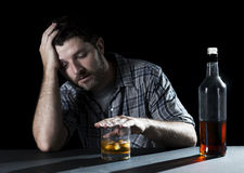 Alcoholic addict man drunk with whiskey glass in alcoholism concept Stock Photo