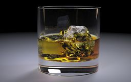 Alcoholic Amber Whiskey Bourbon in a Glass with Ice. Illustration - Whisky and Ice on a black glass table. Alcoholic Amber Whiskey Bourbon in a Glass with Ice Royalty Free Stock Image