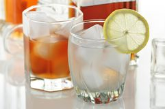 Alcoholic beverages. With ice and lemon Stock Image