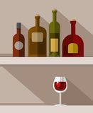 Alcoholic beverages bottles, red wine glass, coloured illustrations. On a shelf colored bottles of different size and shape. They - alcoholic beverages Stock Photos