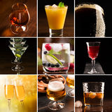 Alcoholic beverages (dark background). A collage of pictures of alcoholic beverages (dark background Royalty Free Stock Photo
