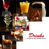 Alcoholic beverages (dark background). A collage of pictures of alcoholic beverages (dark background stock photos