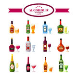 Alcoholic Beverages Drinks Flat Icons Set Stock Photos