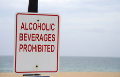 Alcoholic beverages prohibited on beach sign Stock Image