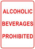 Alcoholic Beverages Sign. Alcoholic beverages prohibited sign isolated in white royalty free illustration