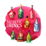 Alcoholic beverages vector logo design template Stock Images