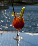 Alcoholic Caesar Beverage by the Beach. Image taken on a patio during a warm summer day in the sun, of a classic Caesar Royalty Free Stock Image
