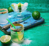 Alcoholic cocktail with additions of lime Royalty Free Stock Image