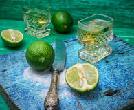 Alcoholic cocktail with additions of lime Royalty Free Stock Photos